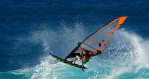 Professional Windsurfing on big waves in Maui, Hawaii