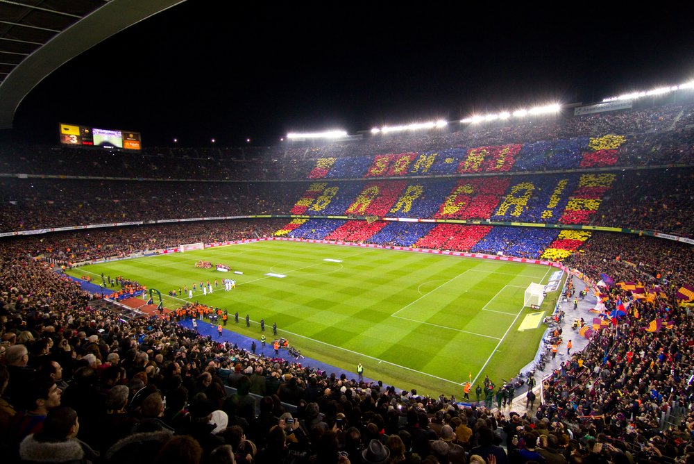 Panoramic view of Camp Nou stadium before the Spanish Cup match between FC Barcelona and Real Madrid, 2 - 2, on January 25, 2012, in Barcelona, Spain.
