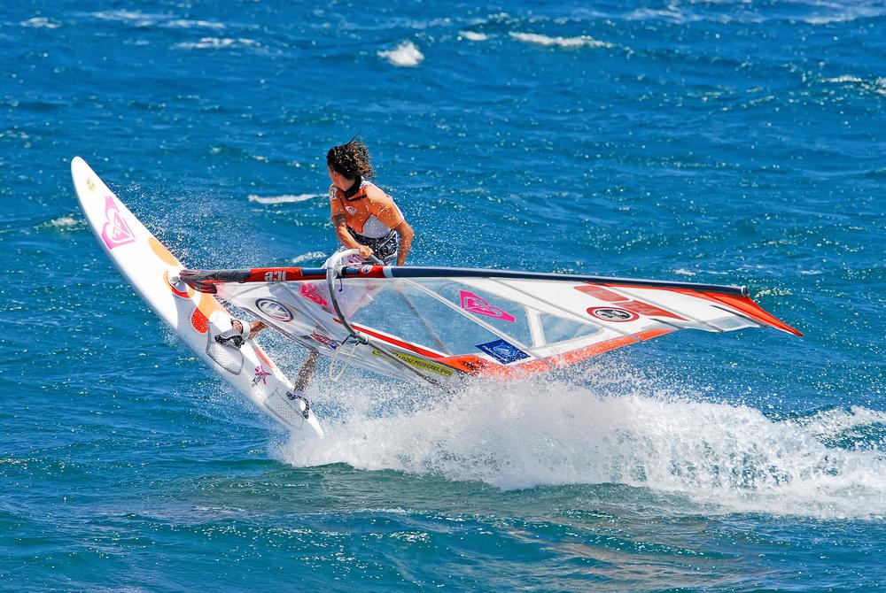 Pro surfer training at the beach Pozo Izquierdo, Gran Canaria